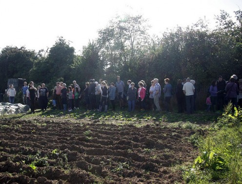 Visitors enjoying the sunshine and learning about Low Carbon Farming