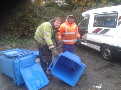 Paddy and Tom at the wheelie bin depot.
