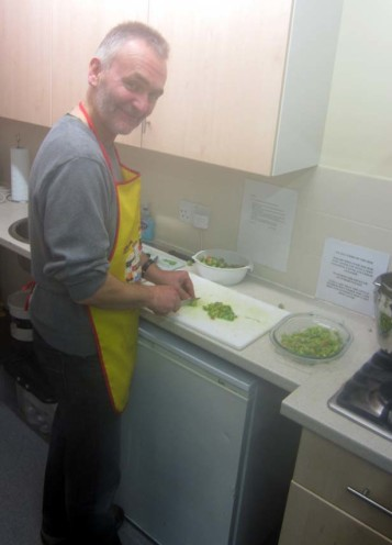 Janus busy chopping green tomatoes