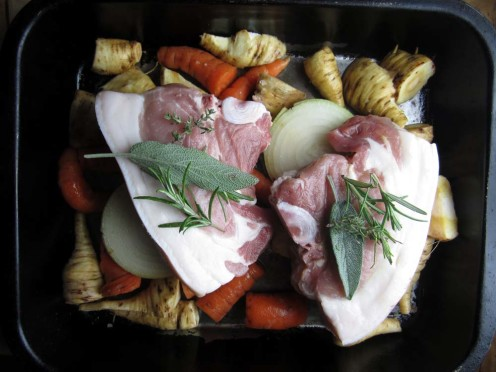 Just pork and veg from the farm, with home grown herbs, and everything coated in melted lard, along with an onion...