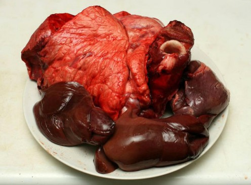 From this (pig pluck, lunghs heart and liver)....