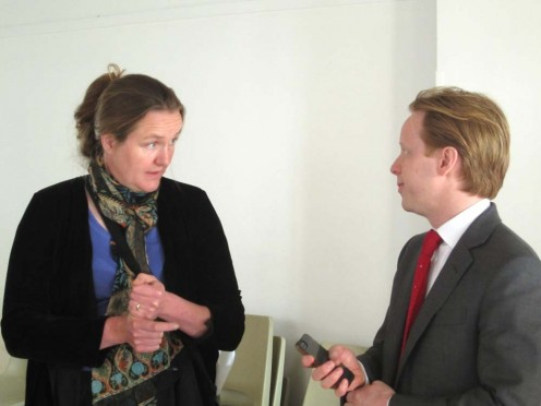 Joanne Mudhar talking with Ben Gummer at the meeting