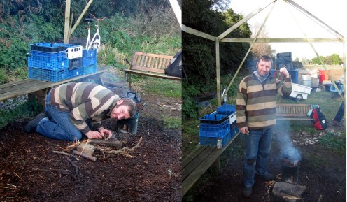 Kevin did sterling work getting the rather damp wood to boil our kettle...