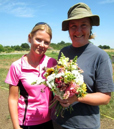 Clare and Joanne with flowers