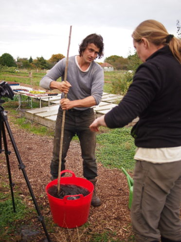 Ben helping with making compost extract