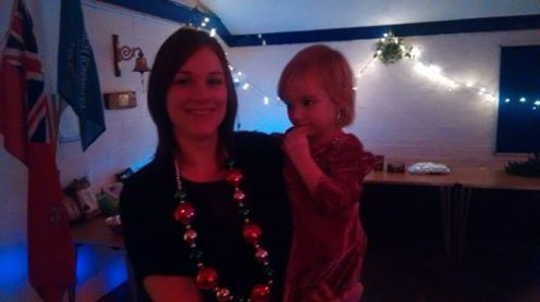 Farm members Katie and Stella looking festive at the farm Christmas party!